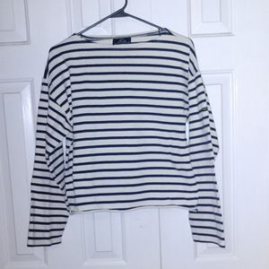 Saint James Boat Neck Cropped Long Sleeve Shirt